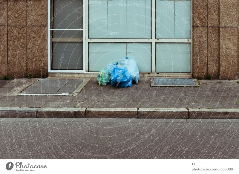 garbage Trash Waste management Garbage bag Street Lanes & trails off refuse collection Deserted Environmental pollution Trash container plastic Plastic bag