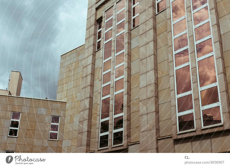 Cloudy Clouds built Architecture reflection Window Facade Reflection Town Sky High-rise Exterior shot Deserted Colour photo