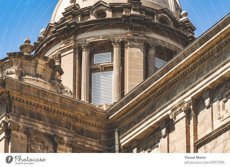 Detail of the central dome and cornices of the National Art Museum of Catalonia in Barcelona aka MNAC detail decorative ornament historic corinthian ionic