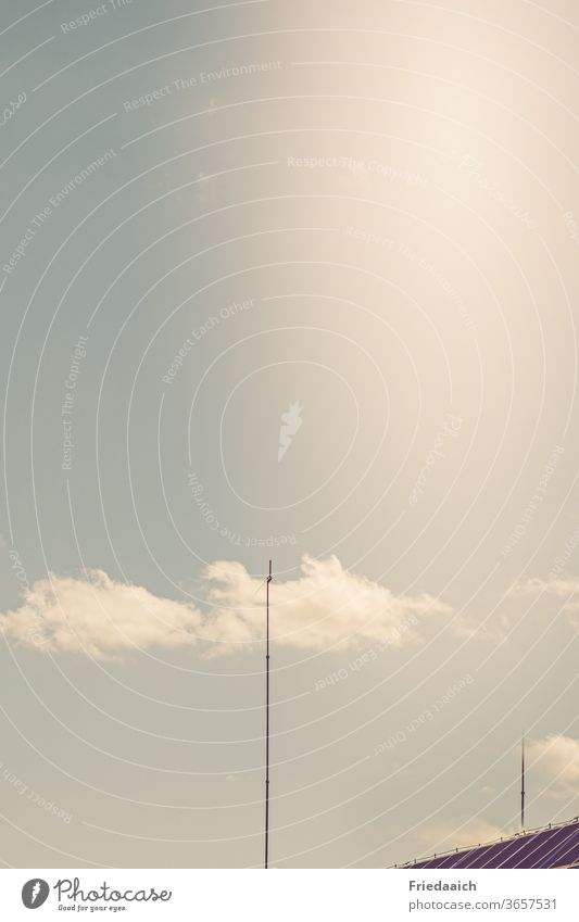 Antenna touches the cloud Clouds Sky Minimalistic Day Deserted Far-off places Exterior shot Flare Copy Space top Summer Beautiful weather house roof