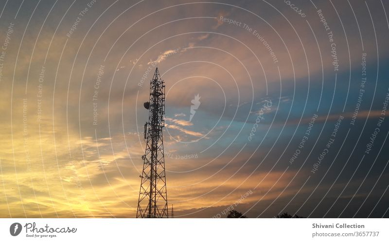 Telecommunication tower with colourful sky abstract background. Copy space nature and environment concepts. transmitter Equipment broadcast Panorama (View)