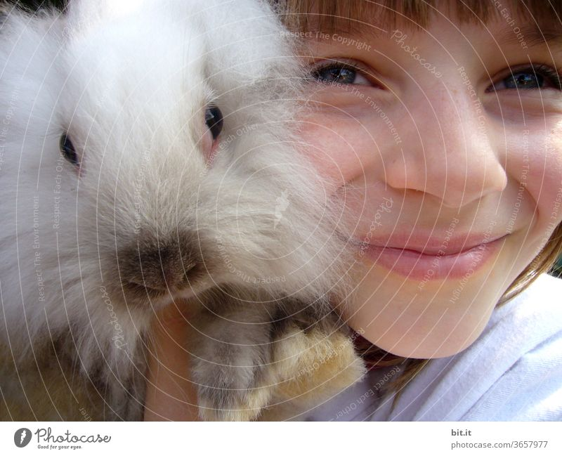 Mulle's favorite person... girl Child Infancy Human being feminine Hare & Rabbit & Bunny Pygmy rabbit Hairy Pelt fluffy Easter Bunny Pet Animal Cute