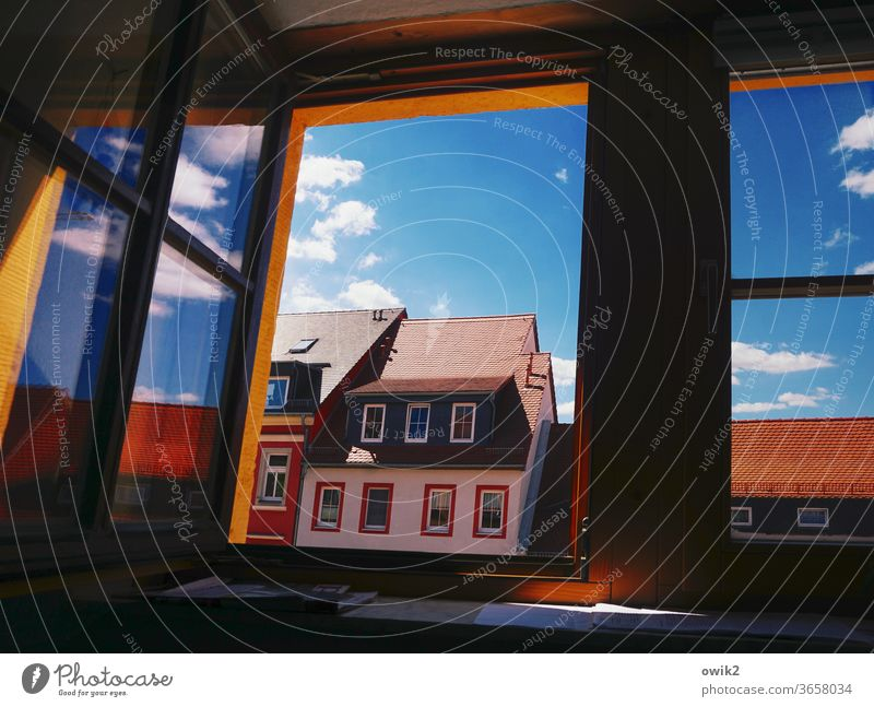 résumé Window House (Residential Structure) Roof Skylight Clouds luminescent Glittering Roofing tile Exterior shot Detail Day Deserted Colour photo Blue built