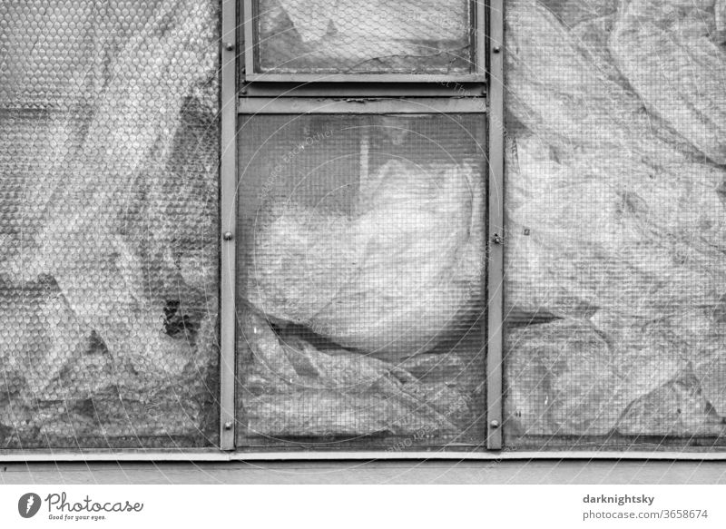 Windows with wired glass and foils Single-pane safety glass Wire ESG Architecture detail Industry insulation Insulation Energy Saving thermal insulation