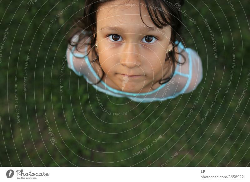 girl looking into the camera Looking into the camera Observe curious down Curiosity Eyes mindfulness Children's game Childhood memory Childhood wish