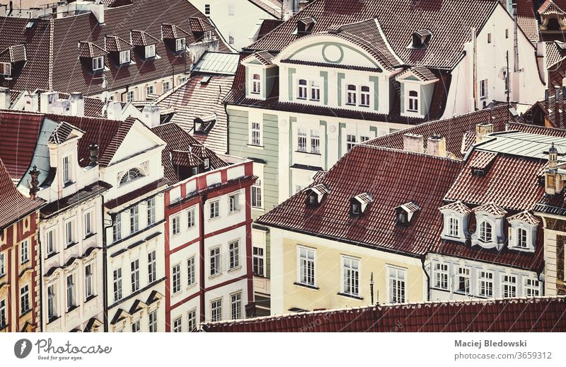 Retro toned picture of Prague Old Town architecture, Czech Republic. city town house cityscape filtered view building urban Europe instagram effect retro