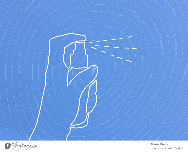 Line drawing of a hand spraying with a spray bottle Spray disinfectants disinfect sb./sth. Spray bottle by hand Drawing Near Neutral Background Blue Abstract