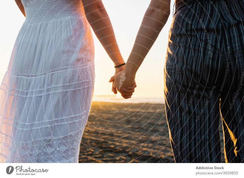 Crop couple of women holding hands on beach lesbian sunset lgbt together unity relationship girlfriend love tolerance same sex homosexual summer bonding freedom