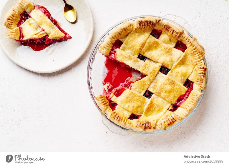 Sweet pie with apples and cranberries thanksgiving food variety season autumn baking dinner seasonal round traditional closeup fresh cuisine table festive