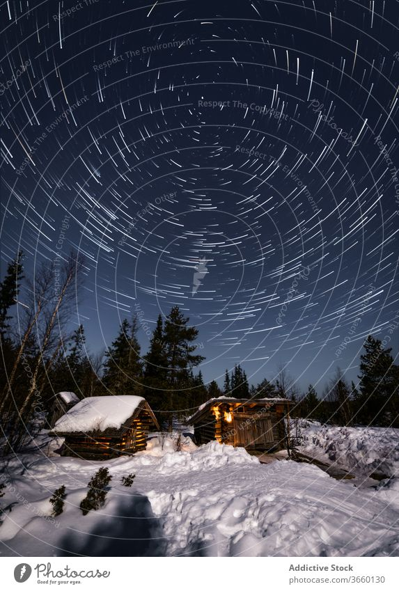 Wooden cottages in winter forest at night house snow starry nature landscape cozy wooden picturesque terrain coniferous evergreen pine cold tranquil scenic