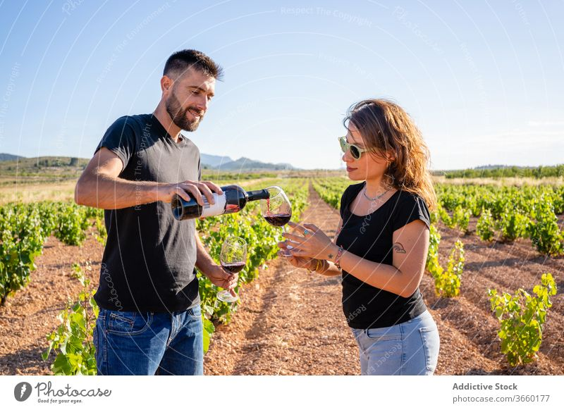 Positive friends degustating red wine on plantation degustate taste vineyard viticulture content positive winemaking alcohol production workspace vinaceous