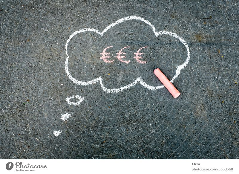 Thought bubble with Euro sign in it. Finances. Money. Money worries. Euro symbol finance financing thoughts Financial Industry Credit Success Business