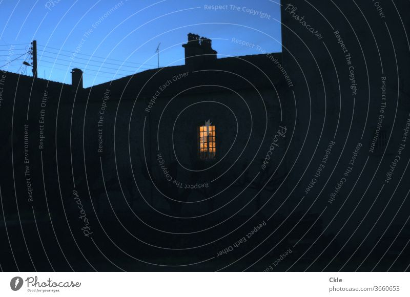 Bright window at night Window Night arrogance Window transom and mullion Sky blue hour Chimney Roof House (Residential Structure) at home go to bed