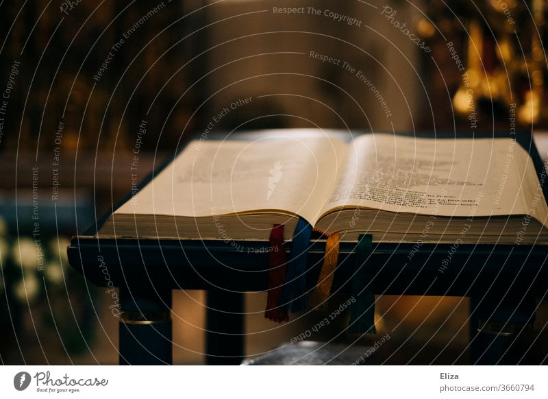 Printed matter | Opened Bible in the church Church Book Struck Religion and faith Christianity Church service Prayer Belief Reading great pray Holy Spirituality