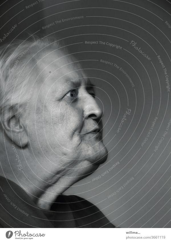 Surprised senior citizen astonished Pensioner unbelievable Senior citizen age facial expression Profile portrait Retirement 80s B/W Old Woman Wrinkle