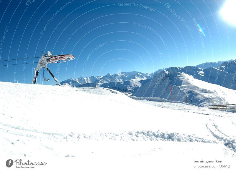 lift the second Chair lift Powder snow Alps Mountain Sky Blue Snow Sun