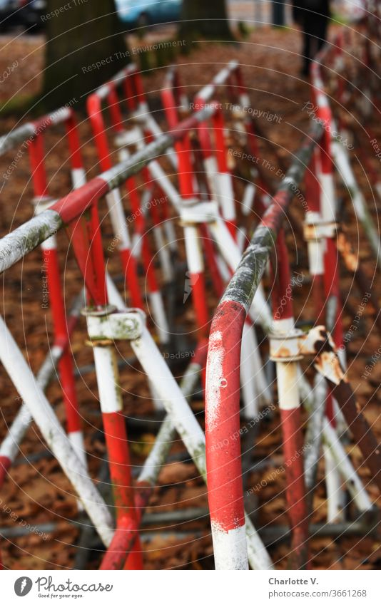 UT HH 2019 | Barriers waiting for the next operation Protective Grating autumn foliage huts Rust dirt frowzy red and white Reddish white White Exterior shot