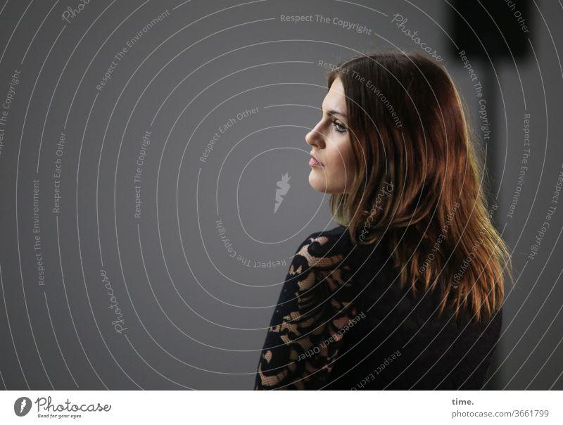 On set (3) temporising portrait actress Meditative Head Dress hair feminine Woman Concentrate Artificial light conceit Room Profile