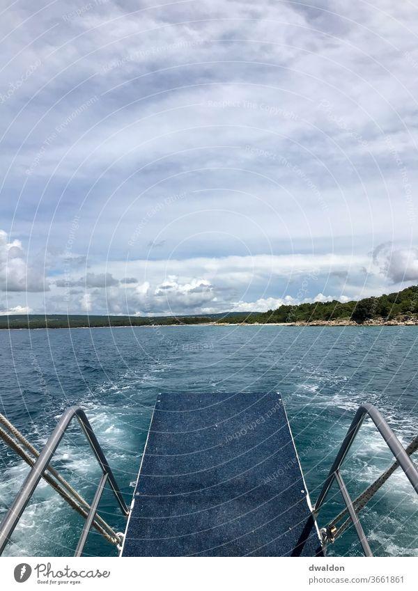 The daring leap Ocean Springboard Croatia Water Vacation & Travel Sky Summer Sun Watercraft Blue Relaxation Horizon Waves Summer vacation Beach Island Clouds