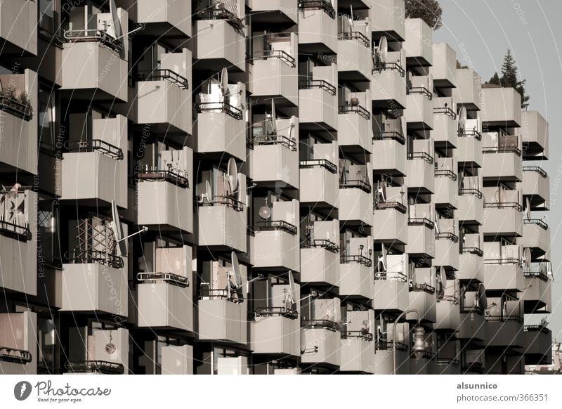70s residential building in Berlin Town House (Residential Structure) Apartment house Facade Balcony Society Satellite dish Black & white photo Exterior shot