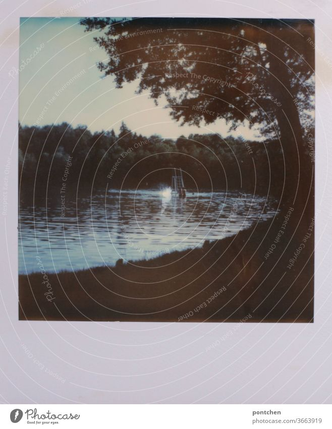 A small diving platform in a lake. Polaroid idyll, nature. Lake Water Idyll Nature Forest Lonely tranquillity Relaxation Landscape Reflection Sky