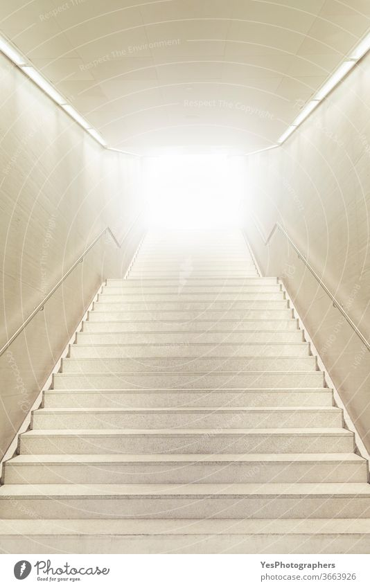 Up stairs going toward strong light. Stairs going up. White modern staircase. abstract achievements airport architecture basement bright building city climb