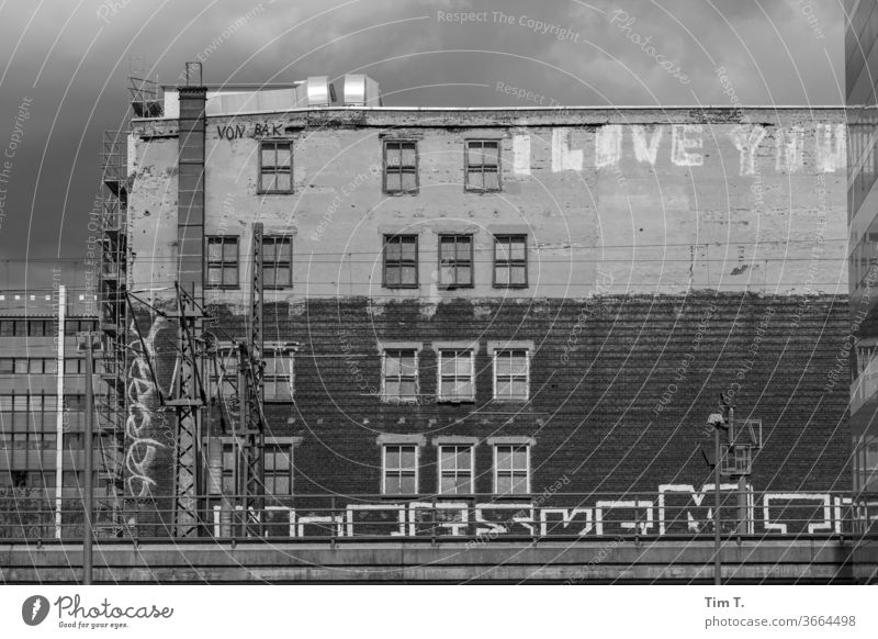 I Love You Berlin Graffiti Town Day Exterior shot Deserted Downtown built Window Old town Architecture Facade Period apartment Manmade structures