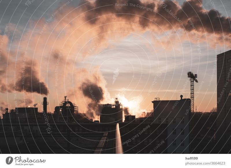 Sunrise with power plant and industry Coal power station Chemistry Chemical Industry Energy industry Sunset Clouds Beautiful weather Industrial plant