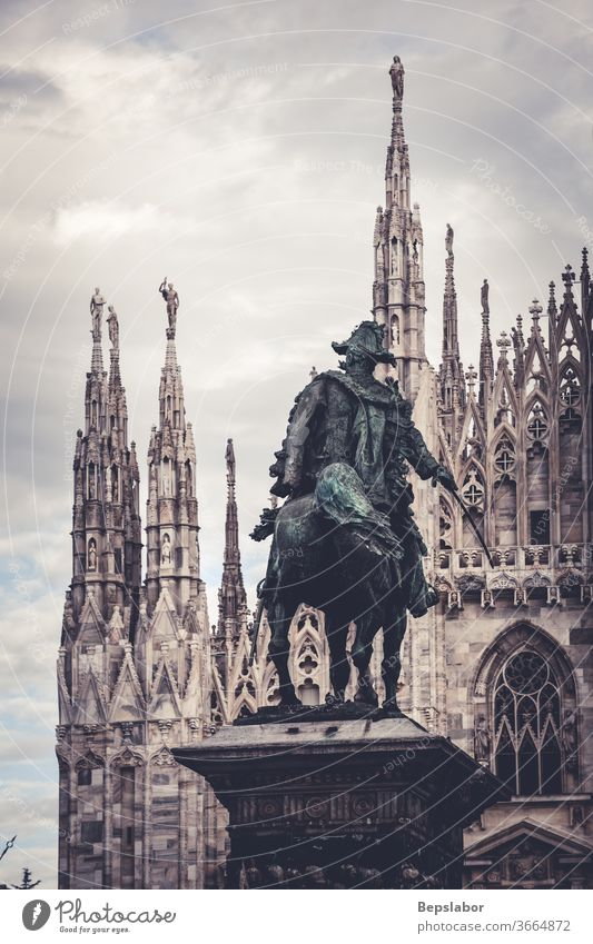 View of the Vittorio Emanuele II monument in front of the Milan Duomo - Italy Christianity ancient antique architecture art artistic arts asset bronze carve