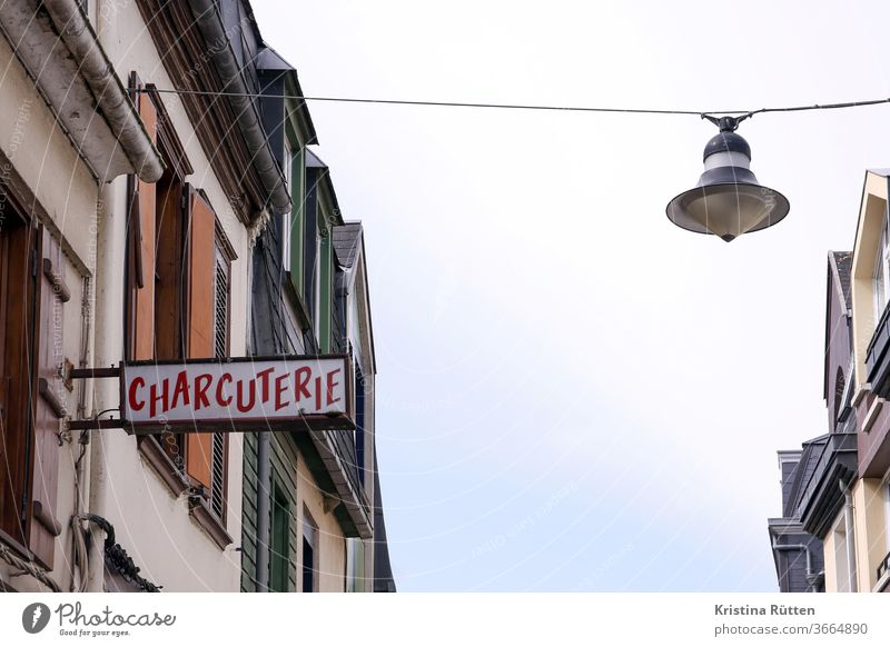 charcuterie Butcher butcher slaughterhouse sign illuminated sign Neon sign Billboard publicity Advertising typo writing houses built streetlamp Village location