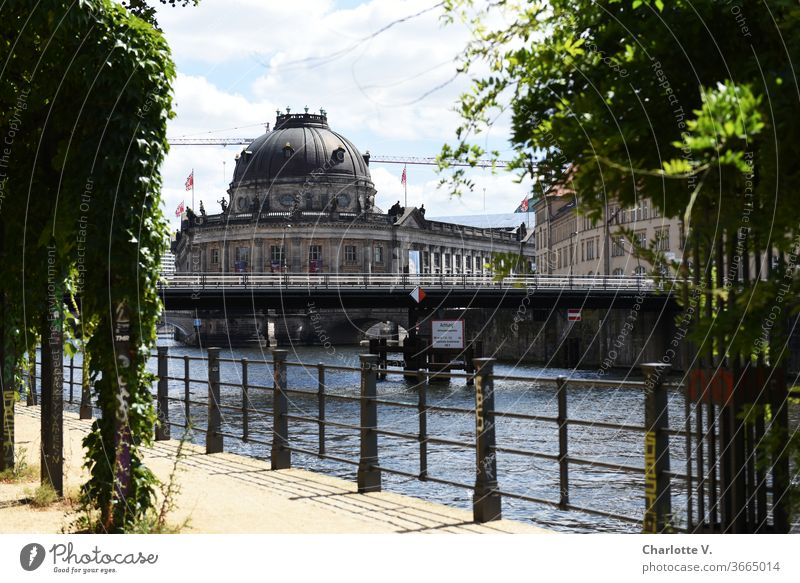 Postcard from Berlin | Bodemuseum soil museum Museum island Spree Capital city Town Tourist Attraction River Deserted Architecture Downtown Exterior shot
