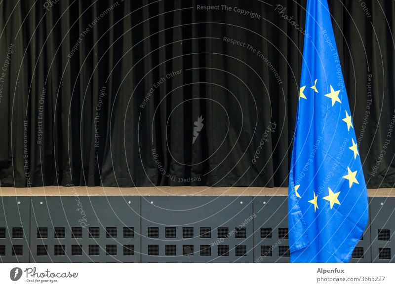 the show must go on Europe flag European flag Flag stage curtain Deserted Star (Symbol) Politics and state Symbols and metaphors Colour photo Landmark
