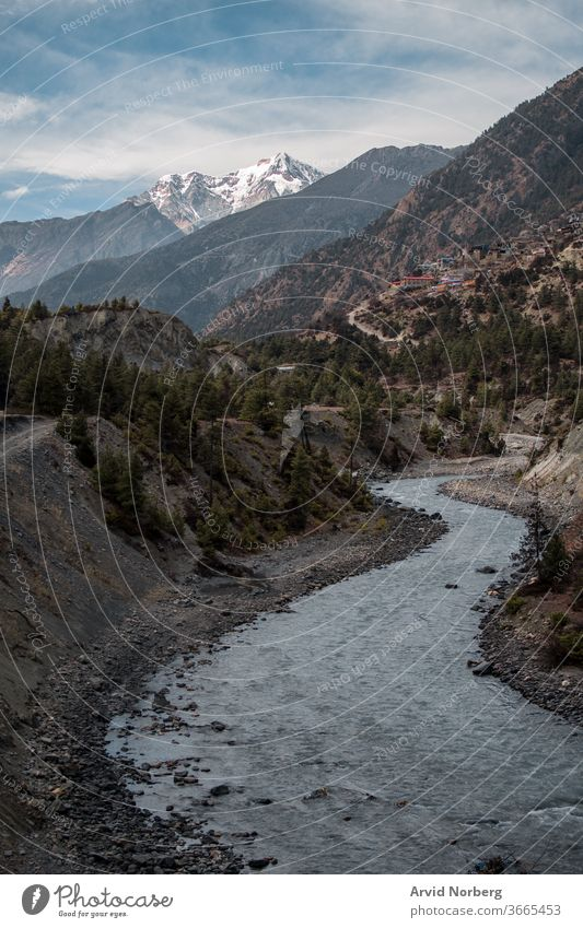 Marshyangdi river valley by Upper Pisang village and surrounding mountains adventure anapurna trail annapurna annapurna circuit asia background beautiful blue