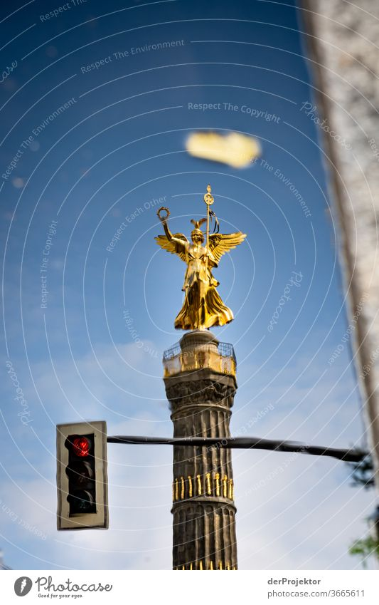 Victory column in a puddle reflection with traffic light (red) Downtown Deserted Tourist Attraction Landmark Monument Gold Statue Colour photo Exterior shot