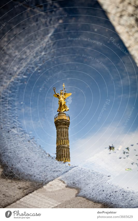 Victory column in a puddle reflection with asphalt Downtown Deserted Tourist Attraction Landmark Monument Gold Statue Colour photo Exterior shot Copy Space left