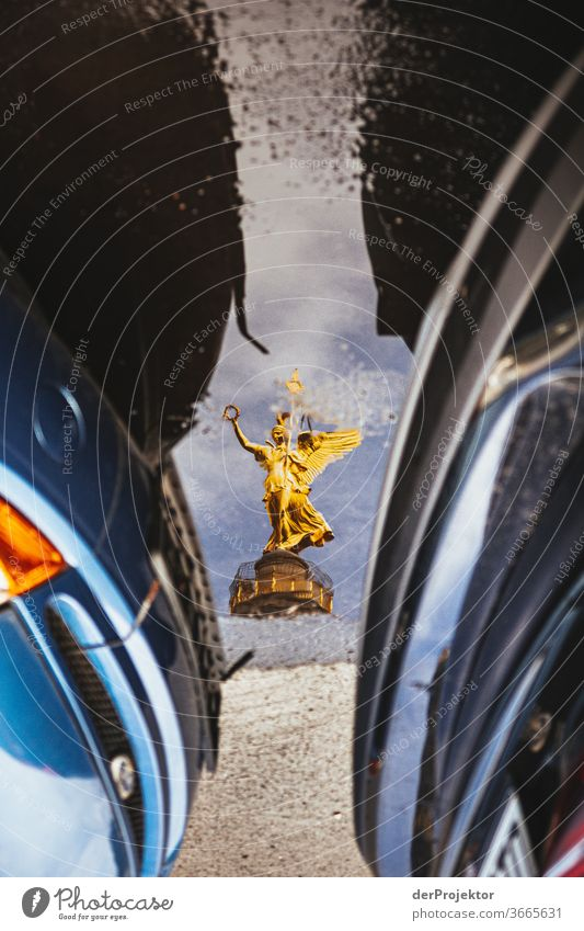 Victory column in a puddle reflection with cars Downtown Deserted Tourist Attraction Landmark Monument Gold Statue Colour photo Exterior shot Copy Space left
