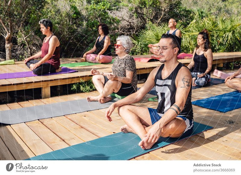 Multiethnic people practicing yoga during summer vacation meditate lotus pose padmasana practice tropical resort relax harmony wellness healthy eyes closed