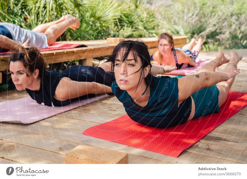 People doing posture during yoga training women people salabhasana locust camp lesson wellness stretch instructor wellbeing healthy vitality stress relief