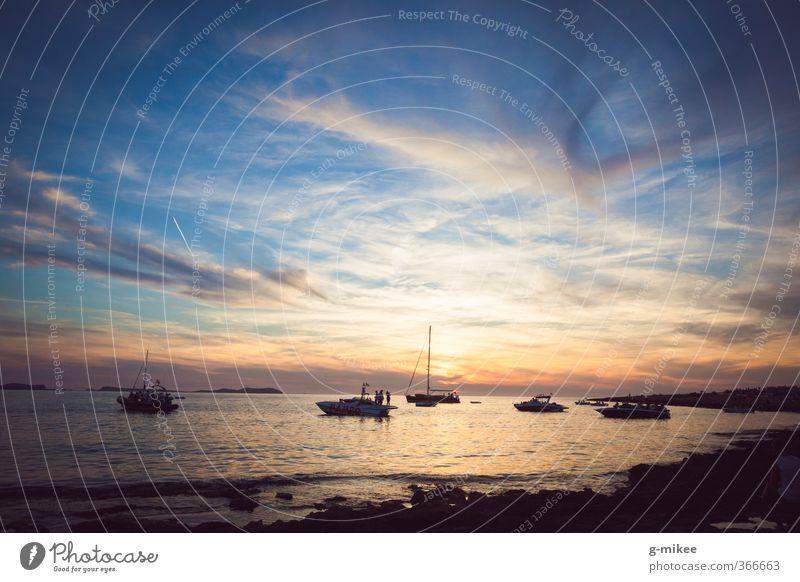 Ibiza Sunset Vacation & Travel Freedom Ocean Island Water Sky Clouds Horizon Sunrise Summer Mediterranean sea To enjoy Esthetic Far-off places Blue Yellow Gold