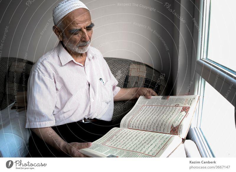 Wise old muslim man wearing taqiyah reads Turkish translation of Quran in passion wise qur'an islam quran koran skullcap window sitting beard religion turkey