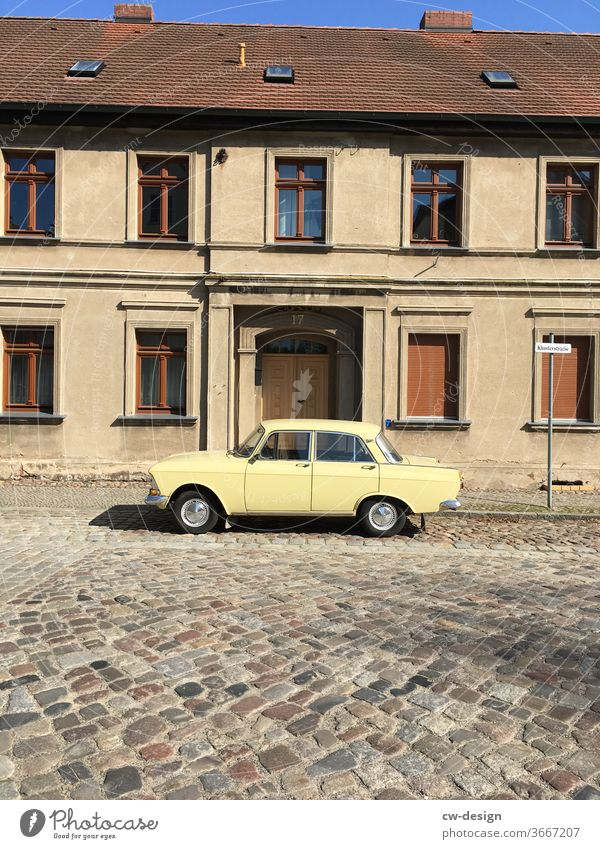 Contemporary history - old building facade with vintage car in front of the front door current Facade Vintage car Old building old building quarter altlandsberg