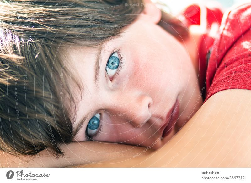 . Dream look at blue eyes Looking Contrast Son Cool Brash Light Child Sunlight portrait Close-up Cool (slang) Day Face Infancy Colour photo Family Boy (child)