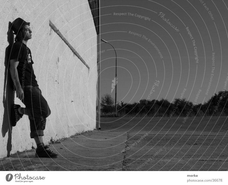 lonely man Style Portrait photograph Man Black & white photo Hat