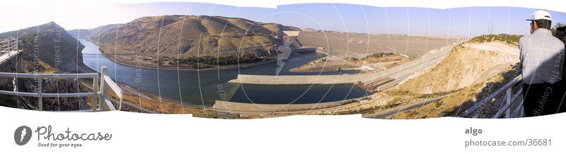 Panorama Atatürk Dam Panorama (View) Turkey Anatolia Ataturk dam Retaining wall Hydroelectric  power plant Euphrat Kurdistan euphrates euf rate firat