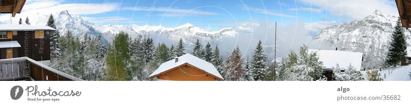 Panorama Eggberge Panorama (View) Switzerland Chalet Clouds Mountain Alps cloud dynamics Large Panorama (Format)