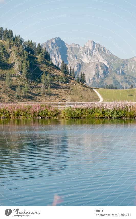 Mountains, hiking and refreshment in the mountain lake mountains Hiking Landscape Lake Nature Peak Lakeside Vacation & Travel Trip Freedom Alps Deserted Water