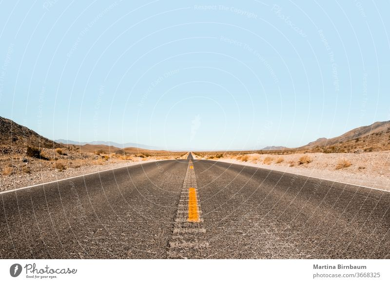 Endless expanse . Road in the Death Valley National Park, Nevada USA vastness endless death valley the way forward vanishing point freedom landscape travel