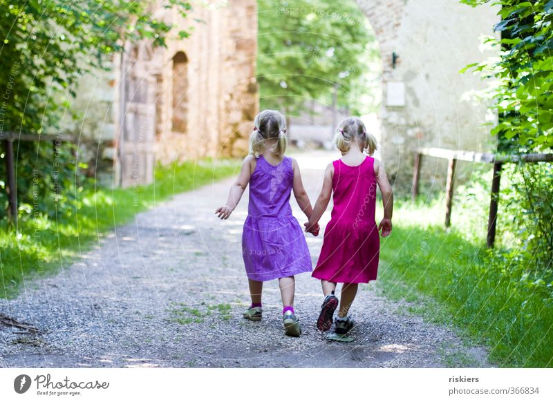 Human being Child Summer Girl Forest Environment Feminine Natural Friendship Together Infancy Power Contentment Free Hiking Happiness