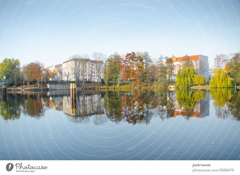 Nordhafen in the mirror of time Panorama (View) Reflection Sunlight Abstract Inspiration Cloudless sky Surface of water as smooth as glass Beautiful weather
