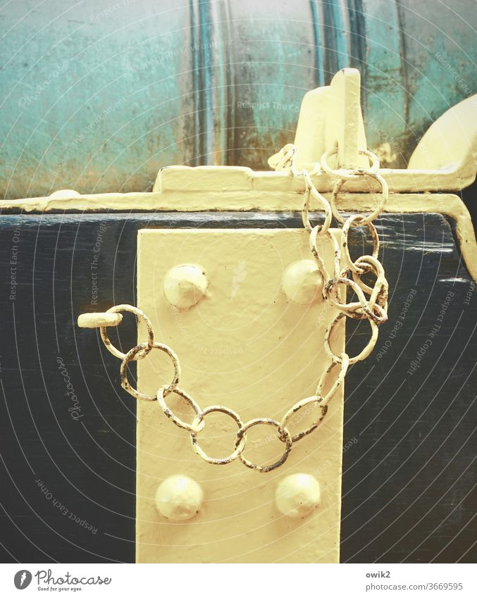 to be on the safe side Chain hang Simple Patient Attachment Closed Structures and shapes Metal Chain link Barrier Safety Protection Copy Space left